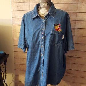 Disney Pooh Short Sleeve Denim Shirt, Sz 22W